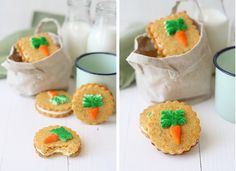 Carrot Cookies (makes 12 cookies) For the cookie dough: 225 g butter, cold, cut into cubes Sugar 225 g 330 g flour 100 g carrot, finely grated or crushed 1 tsp (tea size) ground cinnamon 1 pinch of. Galletas Cookies, Easter Cookies, Easter Treats, Easter Food, Carrot Cake Cookies, Donuts, Cupcakes, Brunch, Sandwich Cookies