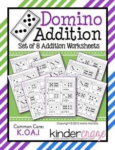 Domino Addition - Set of 8 Worksheets for Early Addition Concepts, on sale for only $1