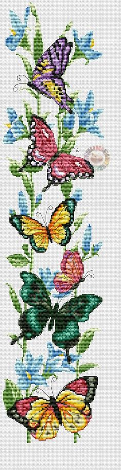 Cross stitch butterflies and chart. Colorful, realistic w/charts. Butterfly Cross Stitch, Cross Stitch Bird, Cross Stitch Animals, Cross Stitch Flowers, Cross Stitching, Cross Stitch Embroidery, Embroidery Patterns, Machine Embroidery, Cross Stitch Bookmarks