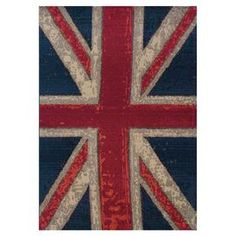 Woven rug with a Union Jack motif.  Product: RugConstruction Material: PolypropyleneColor: Navy and redFeatures: Machine-wovenNote: Please be aware that actual colors may vary from those shown on your screen. Accent rugs may also not show the entire pattern that the corresponding area rugs have.