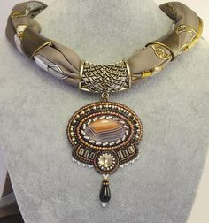 Bead Embroidery Pendent on a scarf with Agate cabochon, Agate droplet, Crystal Swarovski & Pyrite beads