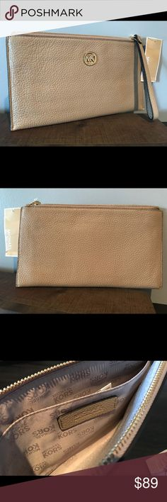 "Michael Kors clutch Brand new Michael Kors clutch in the color ""Bisque"". This is the large zippered bag. It has gold hardware. Care card inside.   Approximately 10"" long and 6"" in height Michael Kors Bags Clutches & Wristlets"