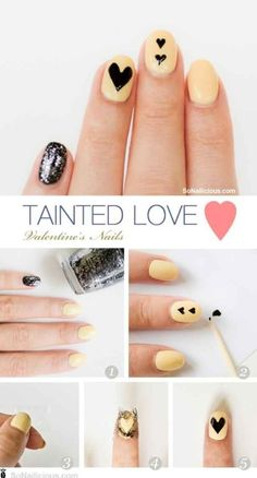 For the girl who doesn't like to be too obvious. | 26 Ridiculously Sweet Valentine's Day Nail Art Designs