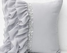 Silver grey ruffled sequin throw pillow, 18X18 Decorative Pillows, Gray cushion covers, Housewarming Gift Holiday, Grey Ruffle pillows