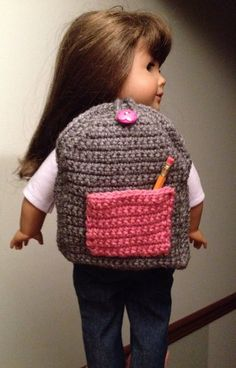 Crocheted Backpack for American Girl Doll by GetDolledUpDesigns, $14.00