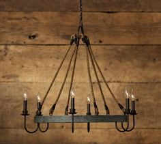 Napa Wine Barrel Chandelier | Pottery Barn | Rustic Farmhouse Style | Metal and Rope:
