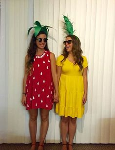 BFF Fruit Matching Halloween Costume Idea STRAWBERRY & PINEAPPLE Very customizable! One all red. One all yellow - use dress, skirts & tops, pants, leggings, etc. JUST ADD GREENERY ON TOP to be recognized.