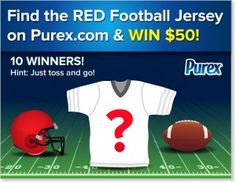purex find the red football jersey sweepstakes  for a chance to win $50.  10 winners!!