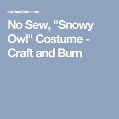 "No Sew, ""Snowy Owl"" Costume - Craft and Burn"