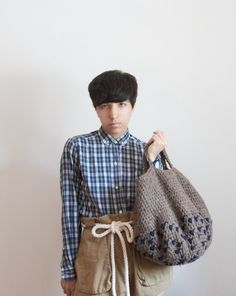 Hobo Tote In Barley and Navy
