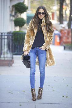 Nasty Gal Fur Coat / Frame Denim Jeans / Christian Louboutin Leopard Boots