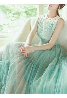 Mint Tulle Dress.