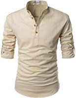 Mens Thin Henley Button-down Slim Fit Rollup Sleeve Shirt at Amazon Men's Clothing store: