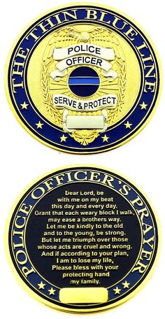 Thin Blue Line Shield Police Officer Prayer Challenge Coin PC: C110 ...