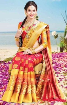 The most effective method to style your kanchipuram saree - is the real love in South Indian women swathe it in all - Bridal Sarees With Price, Indian Bridal Sarees, Bridal Silk Saree, Indian Bridal Fashion, Lehenga Saree Design, Pattu Saree Blouse Designs, Blue Silk Saree, Soft Silk Sarees, Indische Sarees