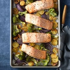 One pan for the win!  Get the recipe for Roasted Salmon with Crispy Potatoes and Broccoli  »
