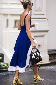 Blue Dress | New York Fashion Week Street Style
