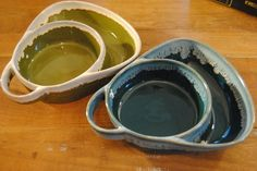 Soup and Cracker Bowls Pottery Green and Blue Set of 2