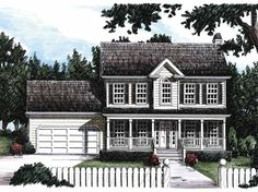 Eplans Farmhouse House Plan - Traditional Two-Story - 1600 Square Feet and 3 Bedrooms(s) - House Plan Code HWEPL07842.  Comment: Similar to the 1399 ft plan, especially on first floor (basically a stretched version).  Very efficient use of space.