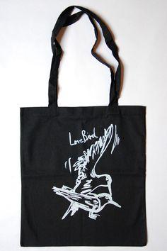 Stofftasche Siebdruck Lovebird schwarz von garageprint auf DaWanda.com