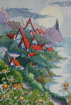 """Daily Paintworks - """"A Seaside Village Moon Storybook Cottage Series"""" - Original Fine Art for Sale - © Alida Akers House Illustration, Watercolor Illustration, Watercolor Paintings, Watercolors, Cottage Rugs, Cottage Art, Storybook Cottage, Whimsical Art, Art Images"""