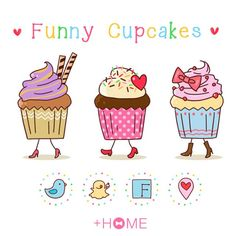"""Funny Cupcakes""  These adorable cupcakes will bring a smile to your face! Download Now:http://bit.ly/2lFLkZX #cute #wallpaper #design #icon #plushome #homescreen #widget #deco"