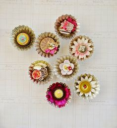 Mini Pie tins with bottle cap centers, buttons, flowers
