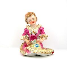 Young Girl Figurine Meissen-style Porcelain by AtticDustAntiques