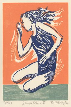 Jump Diver II - Lino & Woodcut by Dennis Revitzky