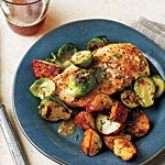 Chicken with Brussels Sprouts and Mustard Sauce Recipe | MyRecipes.com