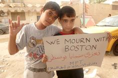 """From Muslim Peacemaker teams in Najaf, Iraq: """"Dear Boston, sorry for your losses. Your losses are ours too"""". It is refreshing to see other countries do this, instead of burning our flags and rejoicing in our tragedy Funny Images, Funny Pictures, Love Is A Verb, Boston Marathon Bombing, Sorry For Your Loss, Funny Sites, Boston Strong, Condolences, Inspirational Message"""