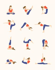 12 Yoga Poses Vector Illustrations Vector Illustrations, Vector Graphics, Yoga Poses, Kids Rugs, Stylish, Design, Kid Friendly Rugs, Design Comics