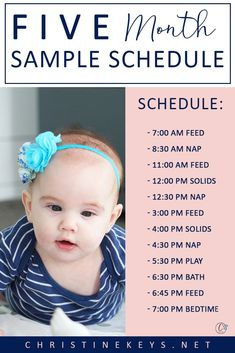 The 5 Month Baby Schedule that You'll Want to Try Out The 5 Month Baby Schedule that You'll Want to Try Out Danielle Brown Little Man Five Month Sample Schedule Baby Feeding Chart, Baby Feeding Schedule, Baby Sleep Schedule, Baby Sleep Routine, 5 Month Old Schedule, Baby Schlafplan, Baby Monat Für Monat, Baby Programs, Baby Wise