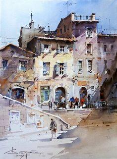 Watercolor City, Watercolor Sketch, Watercolor Artwork, Watercolor Artists, Watercolor Portraits, Watercolor Landscape, Landscape Art, Landscape Paintings, Landscapes