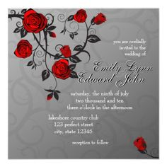 Enchanted Roses Wedding Invitation. Red Rose ...