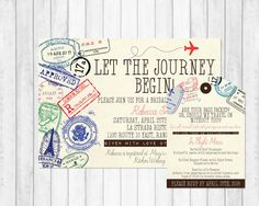 Personalized travel bridal shower invitation. Available at Boardman Printing.
