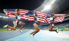 Bronze medallist Kristi Castlin, gold medallist Brianna Rollins and silver…