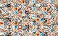 Usada em paredes internas, a cerâmica Ladrilho Patchwork é da Ceusa. Cada placa (56 x 56 cm) reúne quatro desenhos.