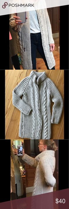 """Italian Long Super Soft Sweater Coat This is the coziest sweater you'll own!  Made of Wool & Acrylic with an off center zipper from collar to below waist.  Snap button at collar, Sleeve length=29""""; Length from back of collar to hem=33""""; Width=19"""" Flat.  It is a bulky sweater because of the thick yarn and large stitches.  It will keep you warm!  Excellent condition!  Smoke & Pet Free Home. Elsamanda Sweaters"""