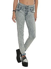 HOTTOPIC.COM - LOVEsick Kiss My Acid High-Waisted Skinny Jeans