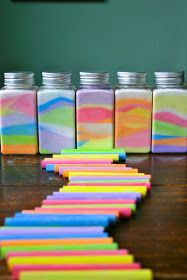 Rainbow in a Jar--Paper-Colored Chalk-salt-Small Jars, baby food or old plastic craft jars, use glass as chalk dust sticks less-Pour salt on piece paper, enough for layer 1/4in thick in container. Take chalk color of choice, rub back & forth across salt til desired color, pour in jar. Use opposite side or new paper for new color. Pour layers at angles & around jar, can rotate  jar while pouring. Repeat with new colors till jar is full. Do not shake jar, will mix layers up. Add lid & Voila!