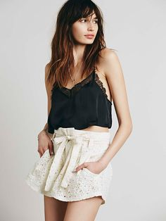 Free People Lace Paper Bag Skort at Free People Clothing Boutique