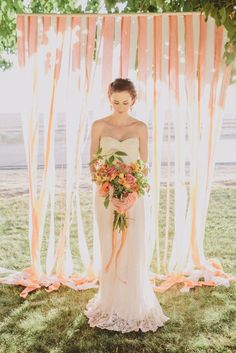 Vintage Garden Peach Wedding Ideas with a shabby chic twist. Including some fabulous peach wedding cakes and diy details. Wedding Ceremony Ideas, Outdoor Wedding Backdrops, Diy Outdoor Weddings, Wedding Photos, Backdrop Wedding, Ribbon Backdrop, Backdrop Lights, Streamer Backdrop, Fabric Backdrop