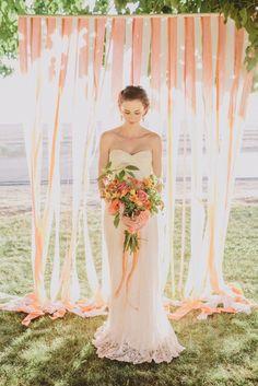 Vintage Garden Peach Wedding Ideas with a shabby chic twist. Including some fabulous peach wedding cakes and diy details. Wedding Ceremony Ideas, Outdoor Wedding Backdrops, Diy Outdoor Weddings, Wedding Photos, Backdrop Wedding, Ribbon Backdrop, Backdrop Lights, Streamer Backdrop, Fabric Backdrop
