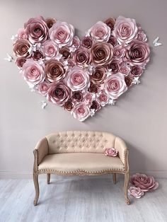 To create this unique flower decor we have used different sizes of flowers and clusters of mini hydrangeas, made from h Paper Flower Backdrop Wedding, Flower Wall Wedding, Paper Flower Decor, Flower Wall Backdrop, Giant Paper Flowers, Flower Wall Decor, Flower Crafts, Diy Flowers, Flower Decorations