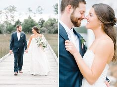 Bride and groom on the dock at a Daniel Island Club wedding in Charleston, South Carolina by Aaron and Jillian Photography