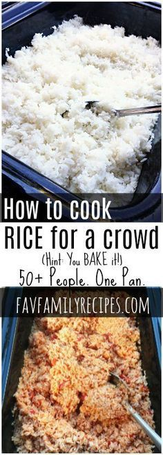 Cooking rice for a crowd is SO easy Bake it in the oven and have up to 50 servings in less than an hour Seasoning variations included via favfamilyrecipz Appetizers For A Crowd, Desserts For A Crowd, Food For A Crowd, Best Appetizers, Meals For A Crowd, Vegetarian Appetizers, Paleo Dessert, Dessert Oreo, Potluck Recipes