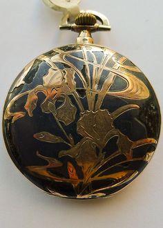 Art Nouveau Movado Niello Pocket Watch - Dated 1910