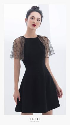 Korean fashion · fashion outfits · black dress with lace sleeves cute dresses, cute outfits, prom dresses, formal dresses Tight Dresses, Simple Dresses, Cute Dresses, Beautiful Dresses, Casual Dresses, Dresses With Sleeves, Classy Short Dresses, Trendy Dresses, Formal Dresses