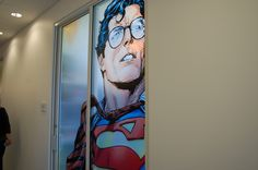 You would think DC's West Coast office would be cool. Comic Room, Different Art Styles, Window Graphics, Office Walls, Superman, Dc Comics, Nerd, Around The Worlds, Houses